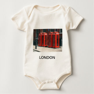 London Red Telephone Boxes Baby Bodysuit
