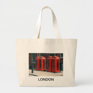 London Red Telephone Boxes Large Tote Bag