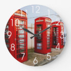 London Red Telephone Boxes, Photograph Large Clock