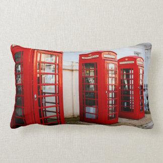 London Red Telephone Boxes, Photograph Lumbar Pillow