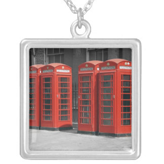 London Red Telephone Boxes Square Silver Necklace