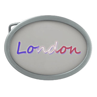London - Red, White, and Blue - on Grey Belt Buckle