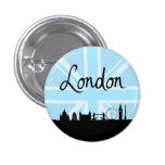 London Script on Union Jack Sky & Sites 1 Inch Round Button