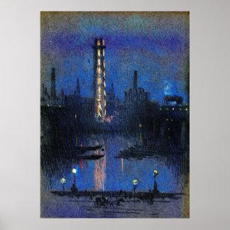 London Shot Tower Night Lights 1880 Poster