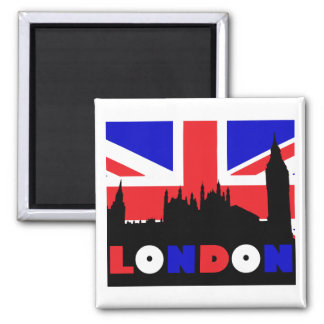 London Silhouette 2 Inch Square Magnet