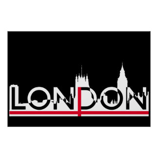 London silhouette and English flag Poster