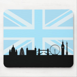 London Sites Skyline and Blue Union Jack/Flag Mouse Pad