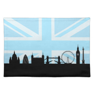 London Sites Skyline and Blue Union Jack Flag Placemats