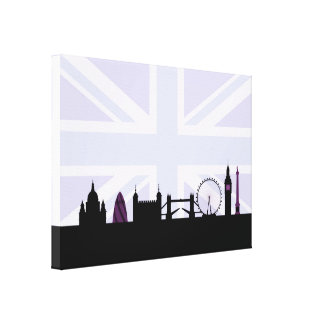 London Sites Skyline & Union Jack/Flag Purples Gallery Wrapped Canvas