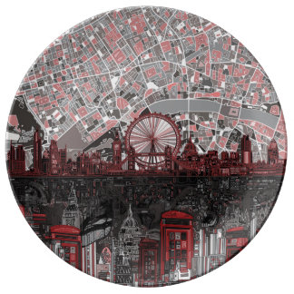 london skyline abstract porcelain plate