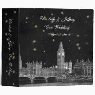London Skyline Black Gold Star Wedding Binder
