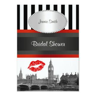 London Skyline Blk Wht Strp Red Kiss Bridal Shower Card