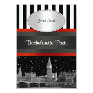 London Skyline BW Blk Wht Stripe Red Bachelorette Card