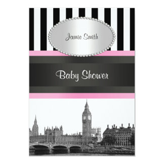 London Skyline BW Blk Wht Strp Pink Baby Shower Card