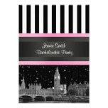 London Skyline BW Blk Wht Strp Pink Bachelorette Invitations