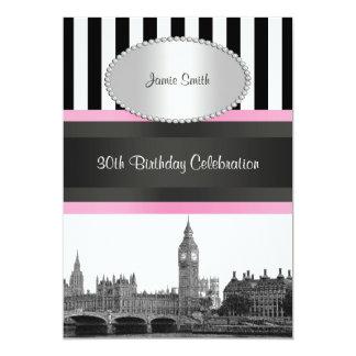 London Skyline BW Blk Wht Strp Pink Birthday Pty Card
