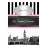London Skyline BW Blk Wht Strp Pink Birthday Pty Custom Invitation