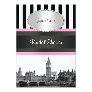 London Skyline BW Blk Wht Strp Pink Bridal Shwr Card