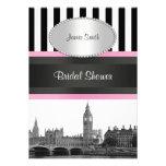 London Skyline BW Blk Wht Strp Pink Bridal Shwr Custom Invitation