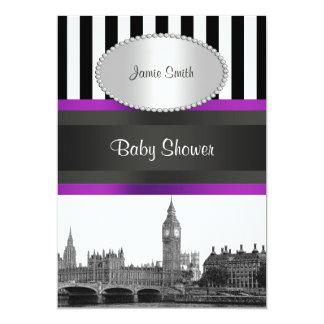 London Skyline BW Blk Wht Strp Purple Baby Shower Card