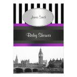 London Skyline BW Blk Wht Strp Purple Baby Shower Custom Announcement