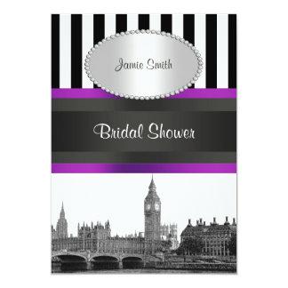London Skyline BW Blk Wht Strp Purple Bridal Shwr Card