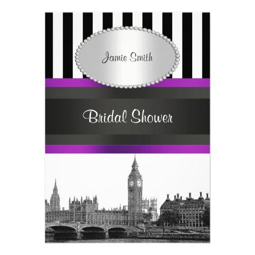 London Skyline BW Blk Wht Strp Purple Bridal Shwr Invitation
