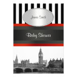 London Skyline BW Blk Wht Strp Red Baby Shower Personalized Announcements