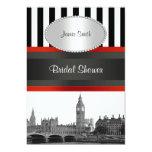 London Skyline BW Blk Wht Strp Red Bridal Shower Card