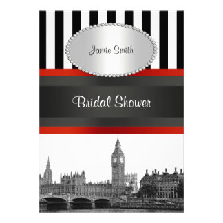 London Skyline BW Blk Wht Strp Red Bridal Shower Personalized Announcement