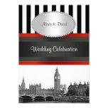 London Skyline BW Blk Wht Strp Red P Wedding Custom Announcement