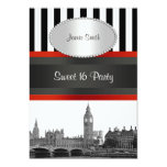 London Skyline BW Blk Wht Strp Red Sweet 16 Party Card
