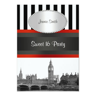 """London Skyline BW Blk Wht Strp Red Sweet 16 Party 5"""" X 7"""" Invitation Card"""