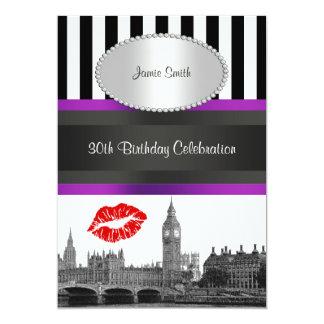 London Skyline BW Strp Purple Kiss P Birthday Pty Custom Announcements