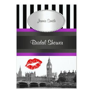 London Skyline BW Strp Purple Kiss P Bridal Shower Announcements