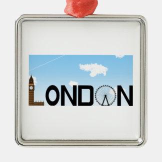 London Skyline Daytime Metal Ornament