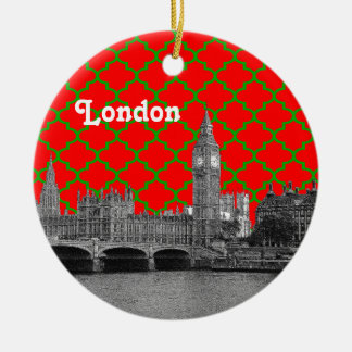 London Skyline Etch Green Red Quatrefoil BG Xmas Double-Sided Ceramic Round Christmas Ornament
