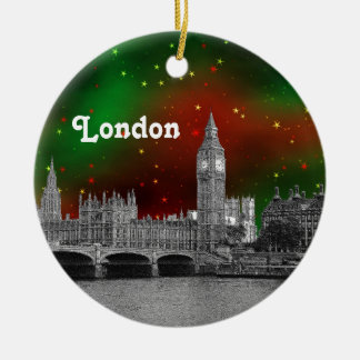 London Skyline Etched, Green Red Starry Sky Xmas Double-Sided Ceramic Round Christmas Ornament