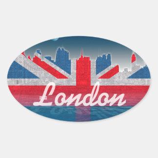 London skyline oval sticker