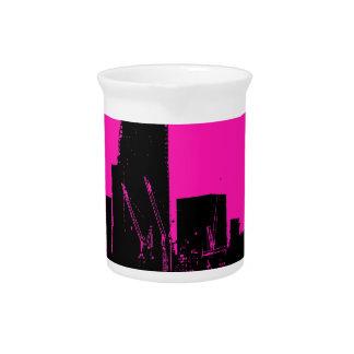 London skyline pink - digitally altered beverage pitchers