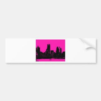 London skyline pink - digitally altered bumper sticker