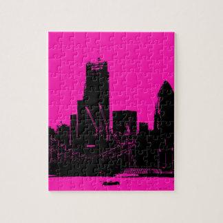 London skyline pink - digitally altered jigsaw puzzle