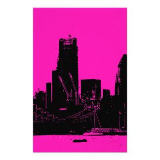 London skyline pink - digitally altered stationery