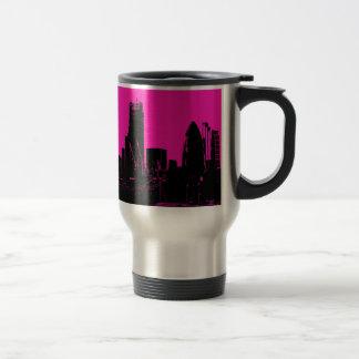 London skyline pink - digitally altered travel mug