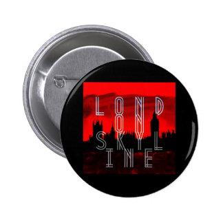 London skyline red black 2 inch round button