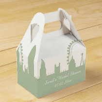 London Skyline Sage Personalized favor boxes