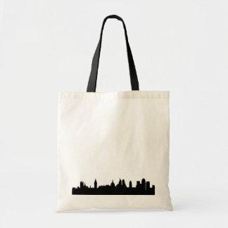 London skyline silhouette cityscape tote bags