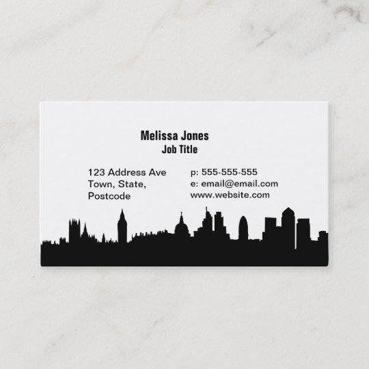 London Skyline Silhouette Cityscape Business Card
