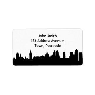 London skyline silhouette cityscape label
