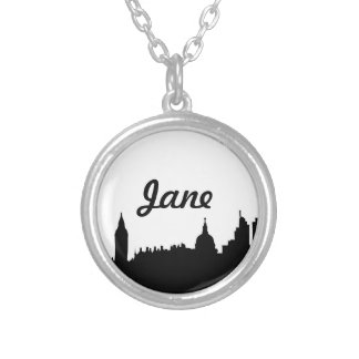 London skyline silhouette cityscape round pendant necklace